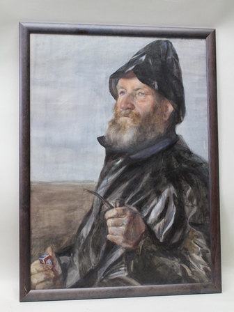 J** KNOX Half length portrait of a bearded sailor holding pipe and matches in souwester, Watercolour, signed, 73cm x 52cm in moulded glazed frame