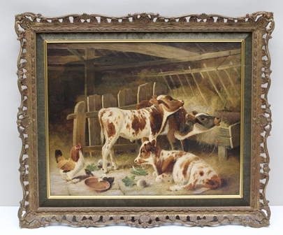 FREDERICK E. VALTER (1850-1930) A farmyard byre with calves at a manger, hen and chicks in the foreground, an Oil on canvas, signed and dated 1915, 40cm x 50cm in an ornate gilt frame with velvet mount