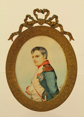 REY 20TH CENTURY A half length portrait of Napoleon in uniform, Watercolour on ivory, 95mm x 75mm oval, in gilt metal frame