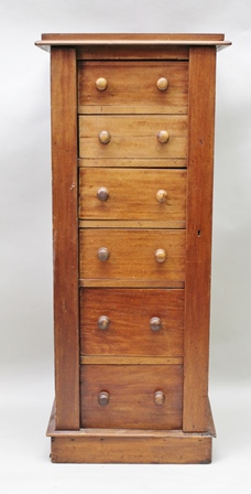 A 19TH CENTURY MAHOGANY WELLINGTON CHEST fitted with six graduated drawers with knob handles, 117cm high x 50cm wide