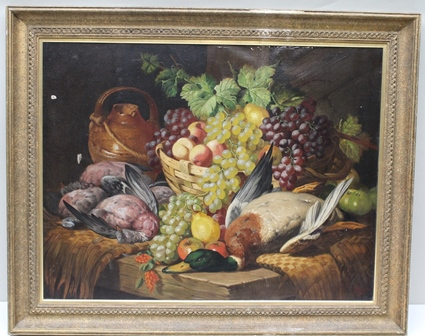CHARLES THOMAS BALE (1849-1925) A still life study Basket of fruit and game, with mallard, pigeon, grapes and an earthenware vessel on a rough hewn table top,  Oil on canvas, signed lower right, 69cm x 90cm in decorative gilt frame