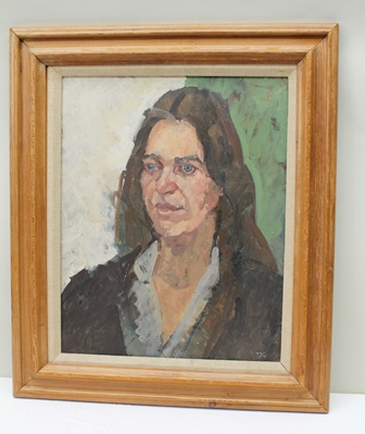PETER JOHN GARRARD Portrait of a Young Woman, oil on canvas, monogrammed, 50cm x 40cm, in moulded pine frame, bears Mall Galleries label verso