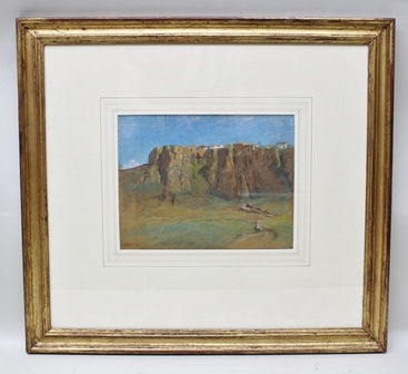 FRANCIS DODD (1874-1949) Ronda from the West, the ancient Andalusian town on its dramatic escarpment, a Pastel drawing, signed and dated 1901, see label verso, 23.5cm x 30cm mounted in gilt glazed frame