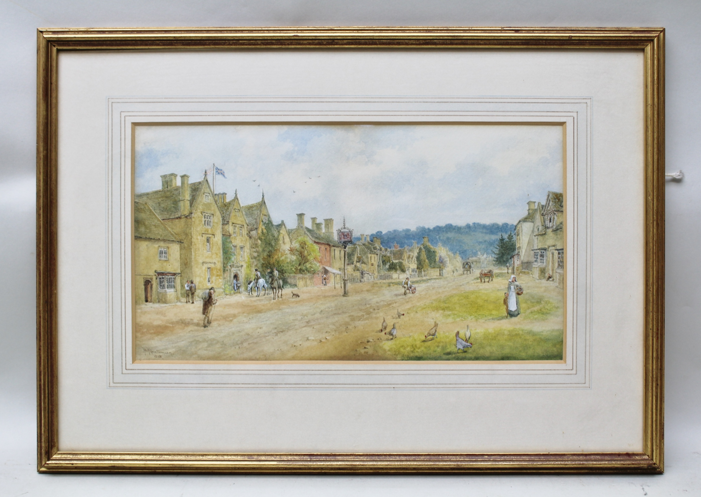 WILLIAM WELLS QUATREMAIN (1857-1930) The Lygon Arms Hotel, High Street, Broadway, an extensive view with figures, chickens, horses and carts, a Watercolour, signed and dated 1898, 22cm x 39.5cm in gilt glazed frame