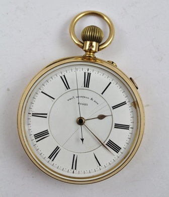 A LATE VICTORIAN 18CT. GOLD CASED POCKET WATCH by Thomas Russell & Son (Makers to The Queen), Church Street, Liverpool, movement no. 84423, inner dust cover with 1895 presentation inscription, keyless wind, the white enamel dial with Roman numerals, having stop watch function, 5.5cm diameter