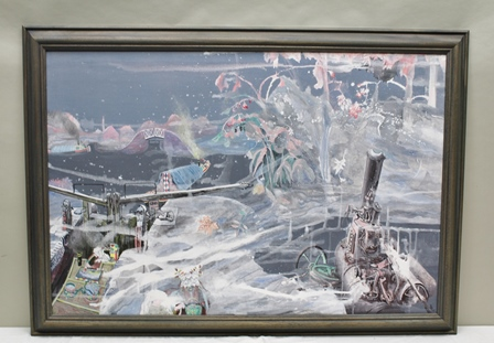 BARBARA MARY RUSSON (d.2007) Canal Lock and Steam Engine in fantasy setting, monogrammed in stained wood frame, 74cm x 110cm (this picture was the last to be produced in conjunction with her husband Bob c.1990)