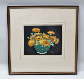 JOHN HALL THORPE (1874-1947) Marigolds a woodcut print in colours, signed in pencil and titled similarly, printed below Published by Hall Thorpe, London, copyright U.S.A. 1925, 23cm x 29cm, in wood grain effect frame, glazed