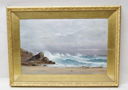 H**S** CHEVILAR Stormy Beach Scene, with waves breaking against the rocks, Oil painting on board, signed and dated 1911, 48cm x 74cm, in gilt glazed frame