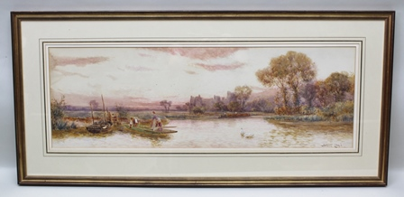 STUART LLOYD, RBA Arundel from the River a river scene with barge, row boat and punt, swans in the foreground and castle in the distance, Watercolour painting, signed, 30cm x 90cm, mounted in a gilt glazed frame