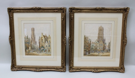 M. SCHAFER Bruges, Belgium town scenes with market stalls and figures, a pair of Watercolour paintings, signed and inscribed, 25cm x 20cm, in ornate gilt frames, mounted and glazed
