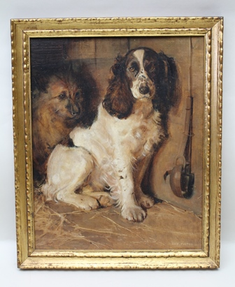 SAMUEL FULTON Spaniel and Terrier Oil painting on canvas, signed Sam Fulton (see D & M Davis Ltd, 3 Livery Street, Birmingham label verso), 49cm x 39cm, in decorative gilt frame