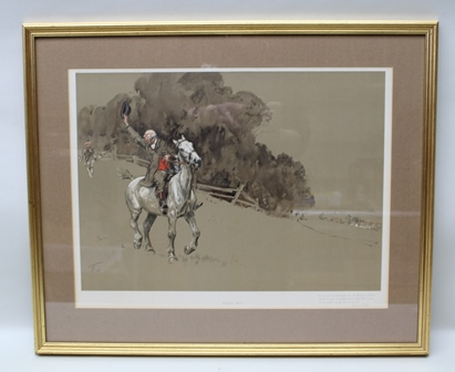 AFTER LIONEL EDWARDS Tally Ho! with a verse by Whyte-Melville, a chromolithograph published Lawrence & Jellicoe, 41.5cm x 55cm in glazed frame