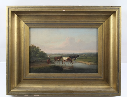 19TH CENTURY EUROPEAN SCHOOL An Extensive Landscape Scene, milk maid and cattle crossing a ford, Oil painting on canvas, 17cm x 25cm, in gilt frame