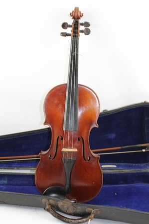EDWARD WITHERS A FULL SIZE VIOLIN with one piece back, bearing interior label Edward Withers, 22 Wardour St., London, with bow and case with plaque similarly labelled
