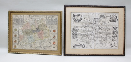 JANSSONIUS, JOANNES, SURRIA A 17th century engraved map of Surrey, Hogarth framed, mounted and glazed, 30cm x 50cm together with one other MAP OF SURREY, partially hand coloured in gilt frame, 38cm x 52cm