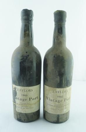 TAYLORS 1960 vintage port, 2 bottles