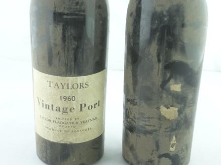 TAYLORS 1960 vintage port, 2 bottles (one no