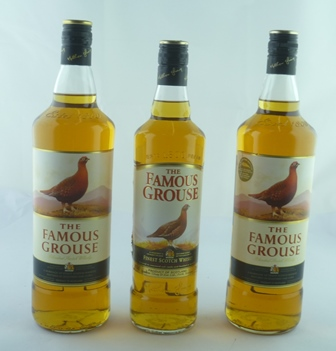 FAMOUS GROUSE 2 x litre bottles and 1 x 75cl