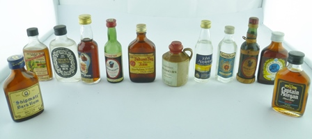 MINIATURES OF OLD RUMS, 70 degrees proof, 12