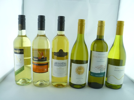 A SELECTION OF SIX MIXED CHARDONNAY WINES com