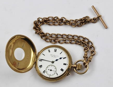 J.W. BENSON LTD. OF LUDGATE HILL, LONDON A 9CT GOLD HALF HUNTER CASED POCKET WATCH, having white enamelled dial with Roman numerals and secondary dial, on a 9ct gold double Albert watch chain with hooks and T bar, weight of chain 39g.