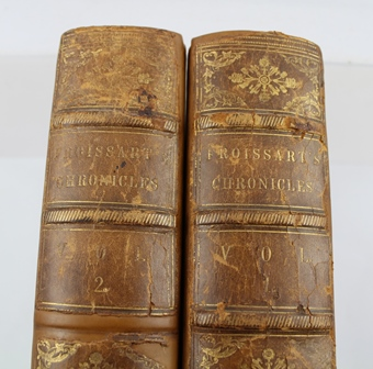 SIR JOHN FROISSART CHRONICLES OF ENGLAND, FRANCE, SPAIN, translated from the French by Thomas Johnes Esq., published by William Smith, London 1839, in two half calf volumes with marbled boards, engraved illustrations