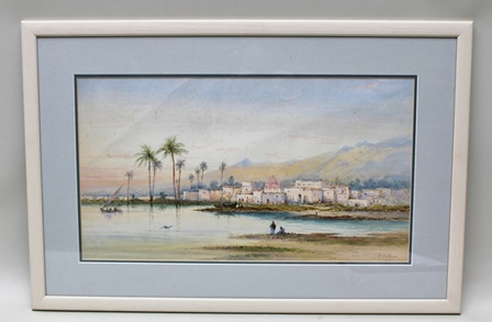 FRANK CATANO (Italian fl. 1880-1920) A North African town, with fishing boats and distant mountain range, a Watercolour, signed F. Catano, 27cm x 49cm mounted in a painted plain glazed frame
