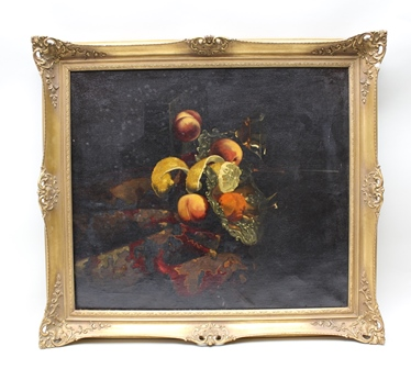 EARLY 20TH CENTURY DUTCH SCHOOL Still Life of Fruit on a Turkey Rug, Oil painting on canvas, 74cm x 64cm, in ornate gilt frame