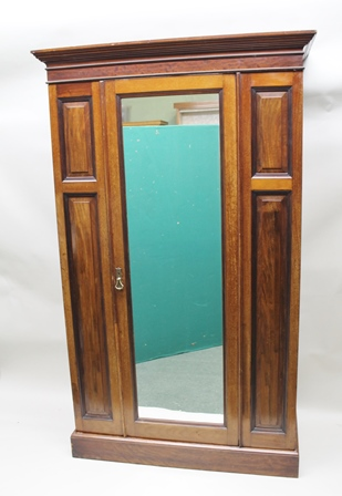 A LATE VICTORIAN MAHOGANY WARDROBE, having fitted single door inset full length dressing mirror, 128cm wide x 213cm high