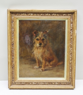 MABEL HOLMES PEGLER A study of a long haired Terrier, an Oil on canvas, signed indistinctly, inscribed and dated 1898 verso, 50cm x 40cm in a carved later painted wood effect frame