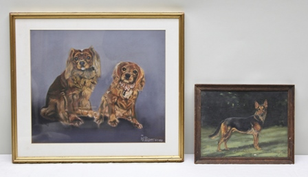 MAJOR GEORGE A. CATTLEY A study of an Alsatian, an Oil on panel, signed and dated 1947, 25cm x 32.5cm in plain oak frame, and ANOTHER PICTURE, WILLIAMS - a study of Pekingeses, a Pastel, signed and dated 1988, 41.5cm x 49cm plain mounted in gilt frame (2)