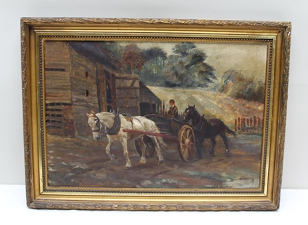 MISS LUCY C. LOCKWOOD  Returning from the fields, an Oil on canvas board, signed with initials and dated 1898, inscribed verso, 27.5cm x 40cm in period part beaded gilt frame