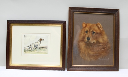 REUBEN WARD BINKS Study of a Chow Chow, a Pastel, signed, dated 1912 and titled, 40cm x 32.5cm, and ANOTHER AFTER WARD BINKS, a Setter in a moorland landscape, a coloured Etching, 17cm x 21.5cm, both in reeded oak frames (2)