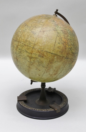 A PHILIPS BRITISH EMPIRE GLOBE, raised upon ebonised stand set with company details, Barclay Curle & Co. Ltd., Engineers & Shipbuilders, established 1818, overall 30cm high