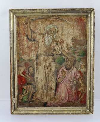 19TH CENTURY RUSSIAN SCHOOL AN ICON depicting a biblical beheading with a sword wielding figure, Oil on panel with moulded frame, 28 x 22cm