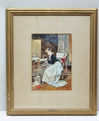 EUGENIO PEREGO (1845-1923) The Artist Composing depicting a lady in Victorian costume at a grand piano, an easel at her side, a Watercolour, signed, 35cm x 25cm mounted in a gilt glazed frame