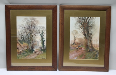 HENRY CHARLES FOX Scenes of Country Lanes, one depicting cattle, the other sheep, with autumnal trees and farm buildings, a pair of early 20th century predominantly watercolour studies, each signed and dated 1910, in old gold mount and plain oak frames