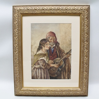 DANIEL SHERRIN Street Musician, depicting a Continental scene, an old man playing a guitar, a young woman holding out her hand for coins, a Watercolour, signed, 34cm x 24cm mounted in an ornate gilt glazed frame