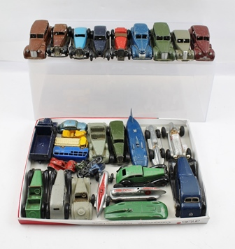 A COLLECTION OF MAINLY EARLY DINKY DIE-CAST VEHICLES including MG Record Car, Land Speed Record, four various early Grand Prix Cars, Chrysler, Packard, Buick, Fraser Nash Riley, Lagonda, Packard & various other Saloons, Sports, Matchbox Bus, Blue Circle Lorry, RAC Motorcycle & Sidecar, VW Beetle, Motorcycle & Rider