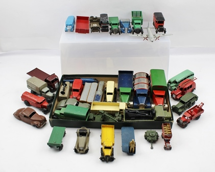 A COLLECTION OF EARLY DINKY & OTHER DIE-CAST VEHICLES MAINLY COMMERCIALS including Petrol Tanker, Ambulance, covered Wagon, Coaches, Fire Tender, BEV Truck, military vehicles, speaker Van, Recovery Truck, Viking Aeroplane, Trains, Guy Flat Bed Lorry,  Mimic Toys Refuse Cart, Dropside Truck Carter & Paterson & Pickfords Delivery Truck plus many others, various