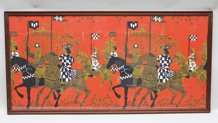 A TIBOR REICH FABRIC PANEL printed in Pageant pattern on a crimson ground, 58cm x 121cm in a mahogany glazed frame