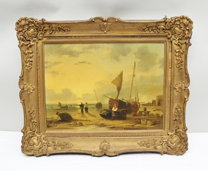 AFTER C STANSFIELD Shore scene with fishermen and boats, oil painting on canvas in ornate gilt gesso frame, 29cm x 39cm