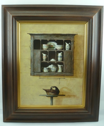 RON BONE (1950-2011) ARR may apply Painted Pieces, a display of china on a rustic wall shelf with model of a duck beneath, Acrylic on board, signed, 47 x 36cm in moulded frame (bears John Noott Galleries label verso, Picture no.492 date 1996)