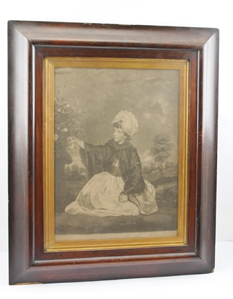 VALENTINE GREEN AFTER SIR JOSHUA REYNOLDS Lady Caroline Howard, an 18th century Mezzotint Engraving, 40cm x 30cm in a cushion rosewood glazed frame