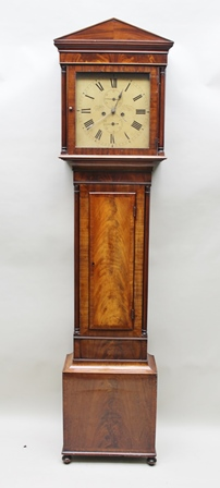GEO. INNIS, GLASGOW A LATE 18TH/EARLY 19TH CENTURY MAHOGANY LONGCASE CLOCK, having four pillar 8-day mechanism with rack bell strike, faced by thirteen painted Roman enumerated dial, including weights and pendulum, 2.09m high