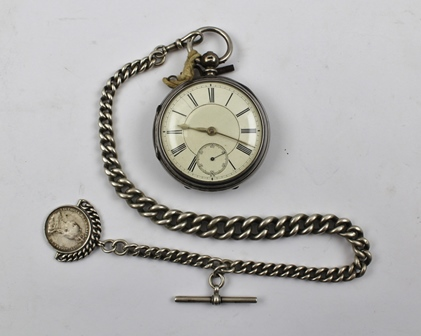 A LATE VICTORIAN SILVER CASED POCKET WATCH, the back of the movement engraved E. Wise, Manchester and the no. 8654, the case hallmarked Chester 1890, having enamel dial with Roman numerals and secondary dial, with a graduated link silver WATCH CHAIN, Key and a Victorian COIN FOB