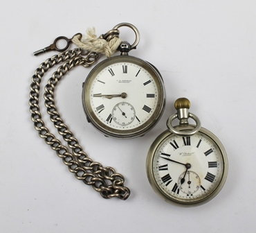 AN EDWARDIAN SILVER CASED POCKET WATCH by C.R. Kershaw of Dewsbury, the case hallmarked, the back-plate of the movement engraved C.R. Kershaw, Dewsbury, and the no. 12567, having a white enamel dial with Roman numerals and secondary dial, completewith a silver graduated link WATCH CHAIN and key, Chester 1902, together with a base metal cased POCKET WATCH, the enamel dial inscribed W. Ehrhardt, London, bears arrow mark to case (possibly War Ministry issue)
