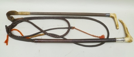 A GENTLEMANS RIDING CROP with horn grip, the silver collar engraved with initials and dated 1925, with leather shaft and leash by Whippy Sadler, London, and a LADYS RIDING CROP with horn grip, having plated collar and leather plaited shaft and leash (2)