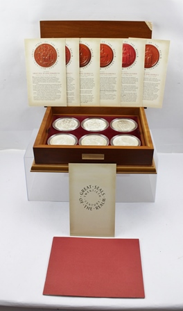 A SET OF SIX 2006 SILVER PROOF GREAT SEALS OF THE REALM COINS, with booklet and specification certificate for each coin, all housed in wooden case