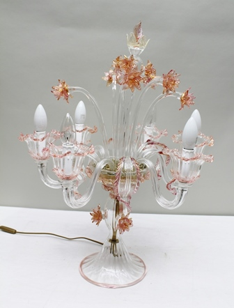 A 20TH CENTURY MURANO GLASS SIX-BRANCH TABLE ELECTROLIER, to the centre a spray of Narcissus glass flowers with tinted heads, raised on outswept base, 69cm high